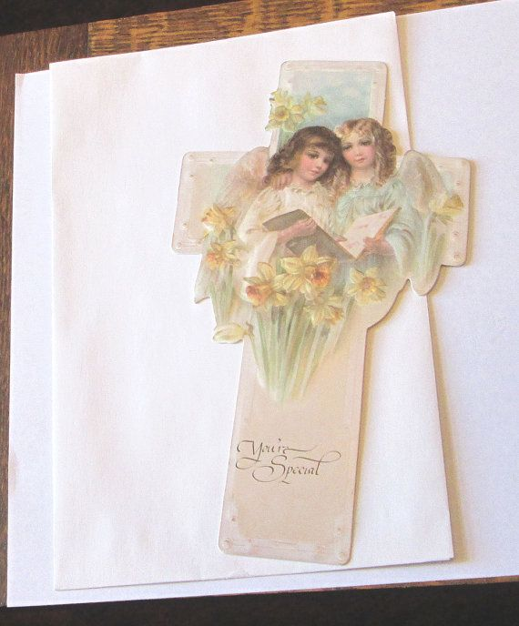New Victorian high quality thick Embossed beautiful Easter cross w angel children cut scrap scrapbooking card making art crafts