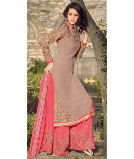 Beauty Brown Georgette Salwar Suit With Dupatta.