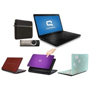 Back to College Laptop Special: Choice of Compaq, Acer, HP, Toshiba, Dell laptops bundle w/ Case and USB Flash Drive with Windows 8 Pro Upgrade Option