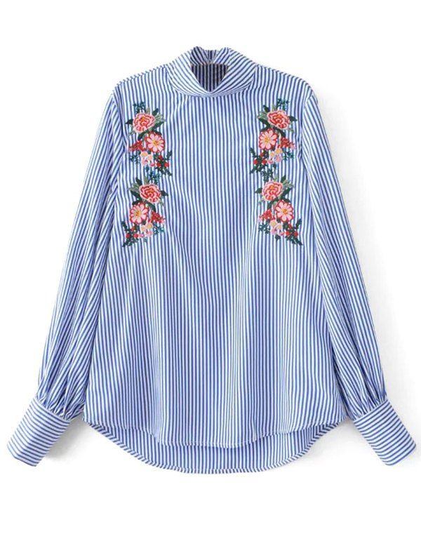 Floral Embroidered Striped Blouse - STRIPE S