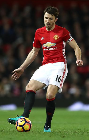 Michael Carrick of Manchester United in action during the Premier League match between Manchester United and Hull City at Old Trafford on February 1...