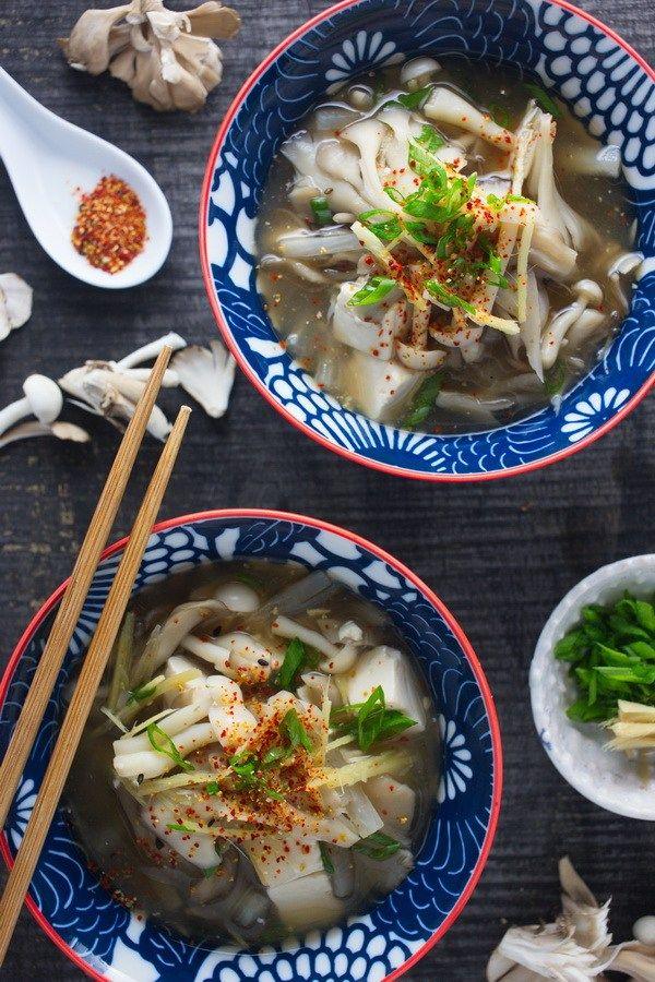 Vegan Japanese Clear Mushroom Soup