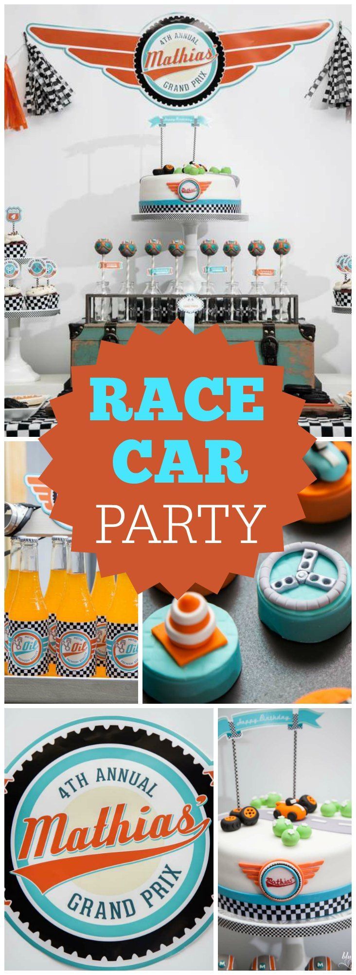 What a cool Grand Prix race car birthday party! See more party ideas at CatchMyParty.com!