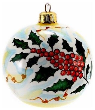 Christmas Ornament: Holly - Round Ball Large - mediterranean - Christmas Ornaments - Artistica Italian Gallery