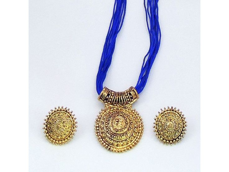 Blue Thread Necklace with Big Circular Pendant N Ear Rings