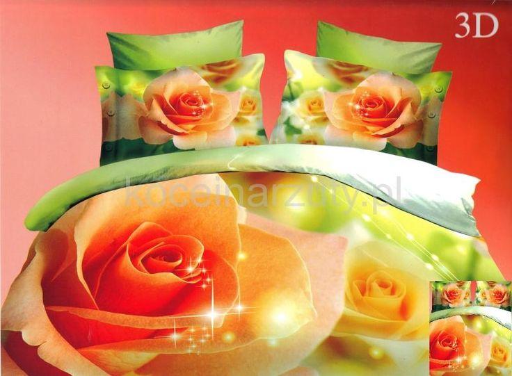 Pomarańczowe róże modna pościel zielona