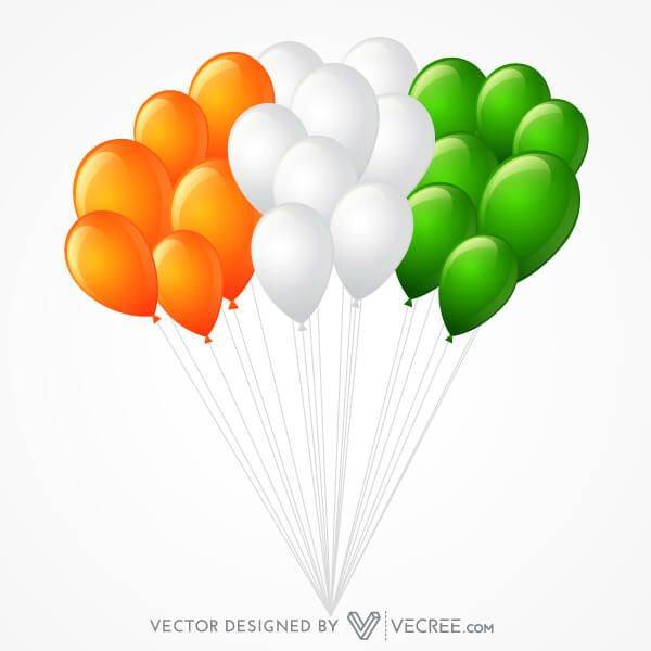 Flying Tricolor Balloons in Indian Flag Colors Vector Image