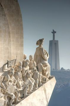 Belém, Lisbon , Portugal - Monument to the Discoveries and Cristo Rey in distance