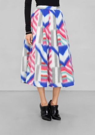 SADIE WILLIAMS Crafted from soft fuzzy wool, this voluminous A-line skirt features an allover graphic design and a feminine mid-calf length.