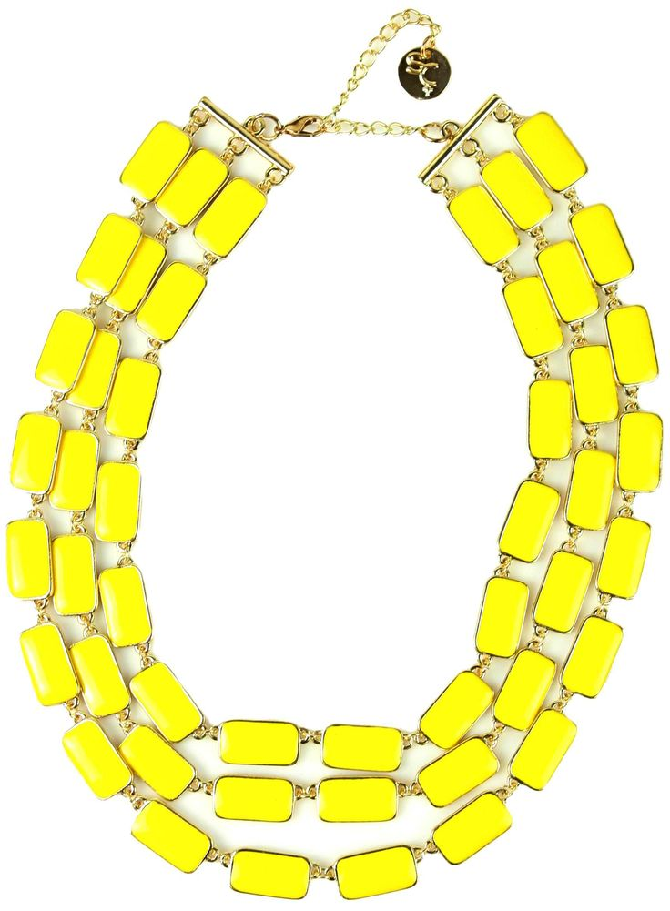 Sistaco's Colour Me Yellow Enamelled Layered Necklace.  Colour me happy with this fabulous necklace! This bold flash of colour will bring a smile to anyone's face. With three chains of silver links featuring bright yellow enamel, this piece is perfect for both day and night wear. http://www.byariane.com.au/Sistaco-Colour-Me