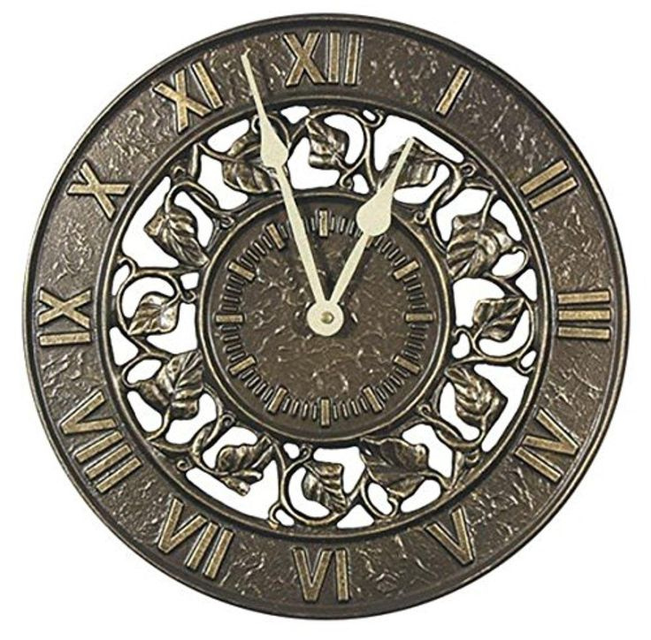 """Whitehall Ivy Silhouette Outdoor Clock 12"""" Diameter - Brought to you by Avarsha.com"""