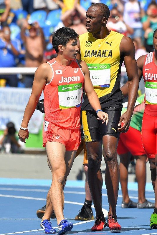 【陸上】男子100㍍予選でウサイン・ボルトと同じ組を走った桐生祥秀=リオデジャネイロの五輪スタジアムで2016年8月13日、和田大典撮影
