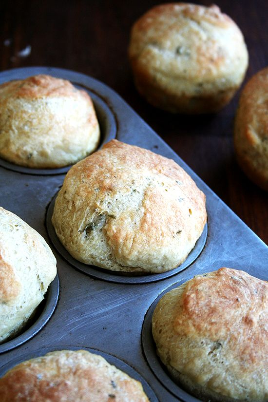 Thyme dinner rolls, yum!  I made these with dinner last night to serve with a hearty split pea soup.  Crusty on the outside, soft on the inside.  Incredibly easy to make- 2 hours start to finish, including rise time. -M