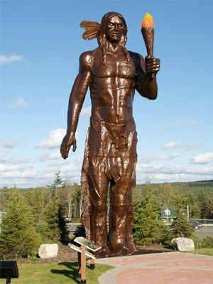 Glooscap is a figure that features heavily in Mikmaq creation stories. One favourite is that when Glooscap slept, Nova Scotia was his bed, and Prince Edward Island was his pillow. This statue can be outside the Glooscap Interpretive Centre in Truro, N.S.