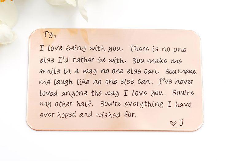 Customized Wallet Insert Card -Copper Hand Stamped Wallet Insert Card, Personalized message for Husband, Anniversary gift,gift for Boyfriend