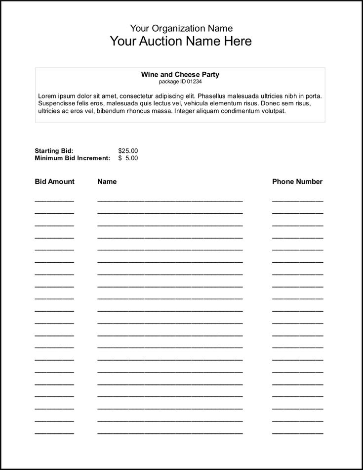 silent auction bid sheet template - Google Search Wine Fundraiser
