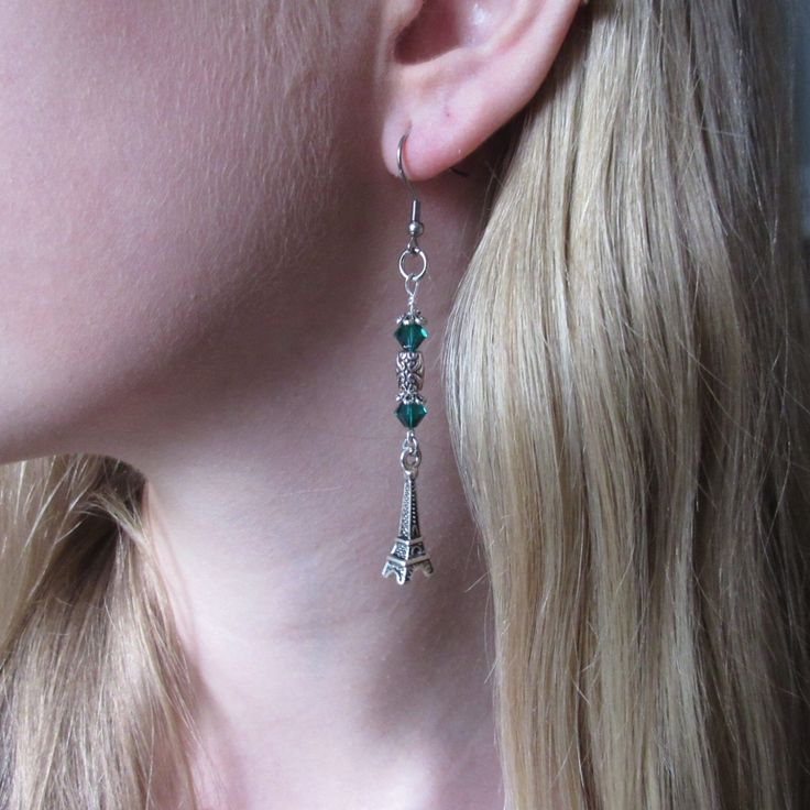 jewelry earrings Paris France Eiffel Tower European Romantic Spring Wedding Personalized Birthstone Emerald May Women Teen birthday girls by veronicarosedesigns on Etsy