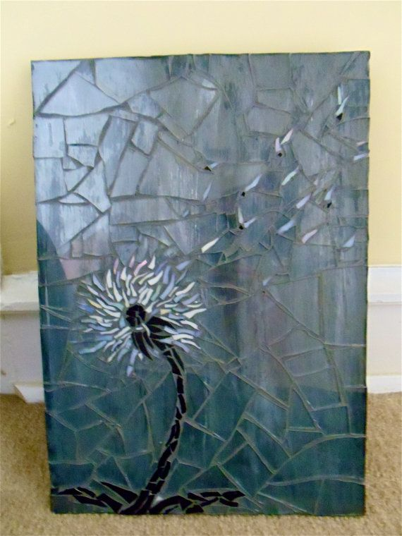 Black and White Dandelion Mosaic by littlepiecesmosaics on Etsy