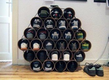 Crea tu propio zapatero, ¡con tubos de PVC!: Wine Racks, Shoerack, Storage Solutions, Pvc Pipes, Shoes Storage, Shoes Organizations, Diy, Storage Ideas, Shoes Racks