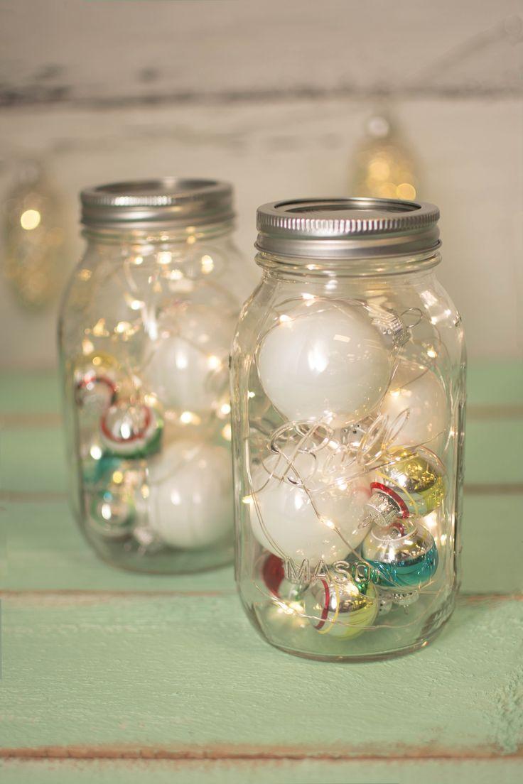 Mason jar ornaments - Add Christmas Ornaments To Our Mason Jar Fairy Lights For Added Holiday Sparkle Http