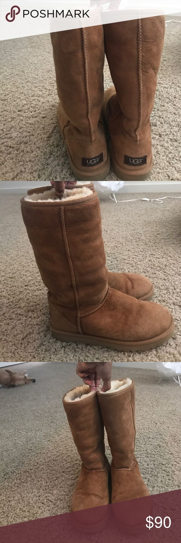 Australian Uggs tan size 8 women's Women's size 8. Preowned.7:10 condition. Worn in the snow without protector so there's some vague fading but other than that they are in great condition. Only work one winter UGG Shoes Winter & Rain Boots