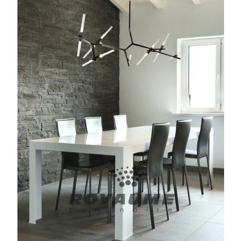 suspendu noir pur au led avec baguettes de verre blanc id al pour salle a manger chambre. Black Bedroom Furniture Sets. Home Design Ideas