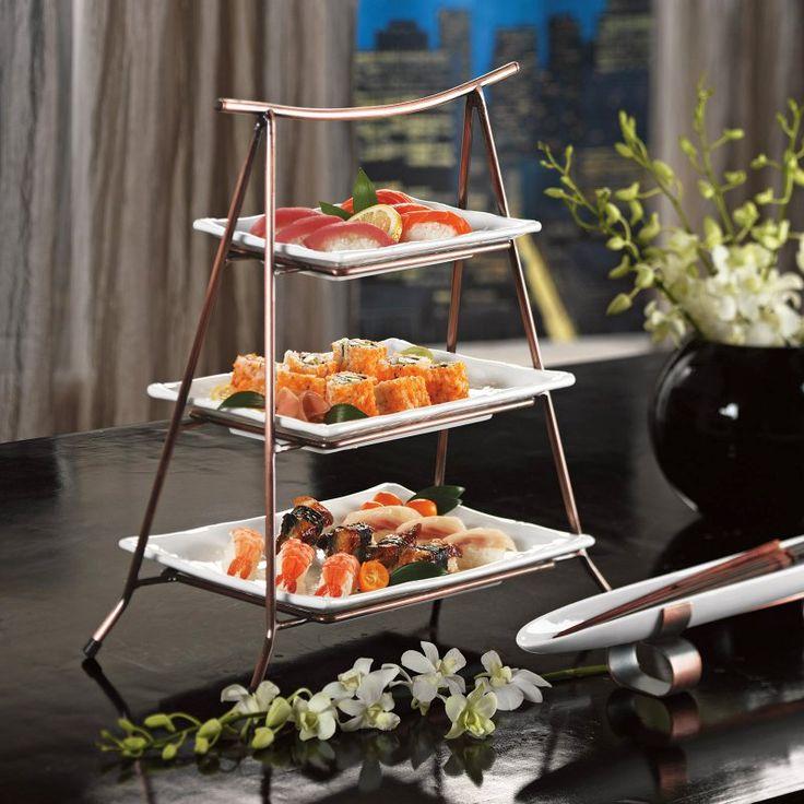 skalny 3 tier server serving platters at
