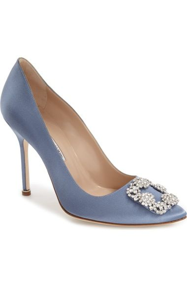 Manolo Blahnik 'Hangisi' Jewel Pump (Women) available at #Nordstrom  NOTE:  The Dark Grey is stunning!