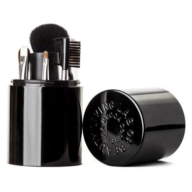 Mecca Cosmetica For artistry perfection on the go, this convenient travel size set includes six must have brushes and a mini brush cleanser all housed in a sleek black case.