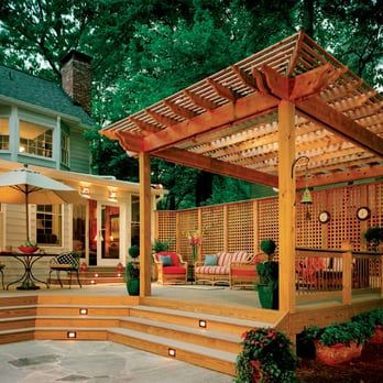 Composite Deck With Large Pergola Designed And Built By Atlanta Decking.    Yelp