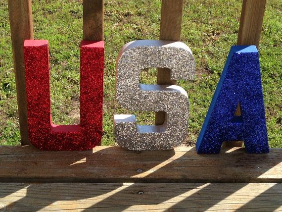 usa red white blue patriotic glitter stand up letters of july