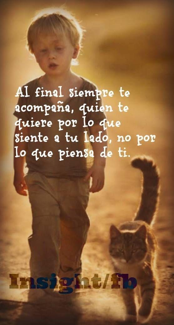 ... Al final siempre te acompaña quien te quiere por lo que siente a tu lado, no por lo que piensa de ti.