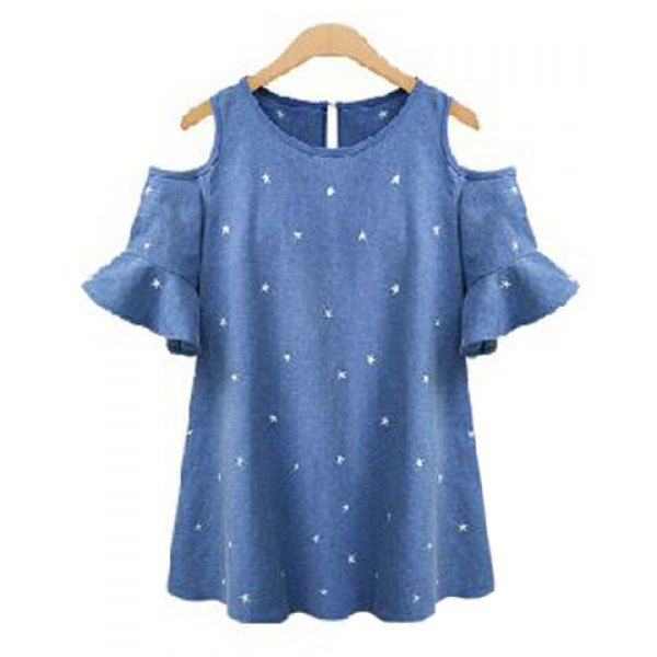 Jewel Neck Star Print Hollow Out Flare Sleeve Blouse For Women