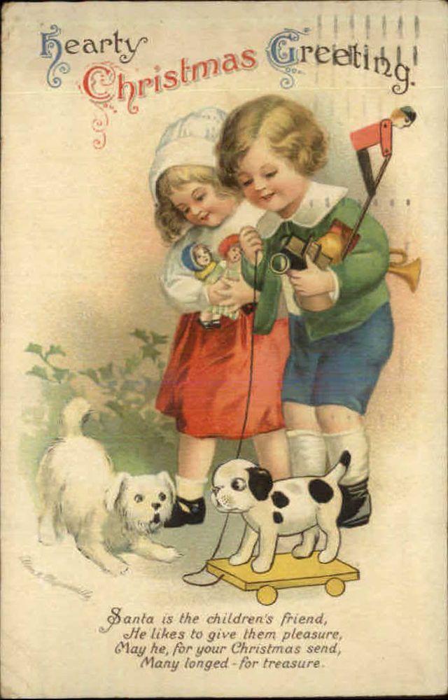 202 best merry christmasdear fur familydogcatand other beloved ellen clapsaddle christmas children dog new toys c1910 postcard 1878 m4hsunfo