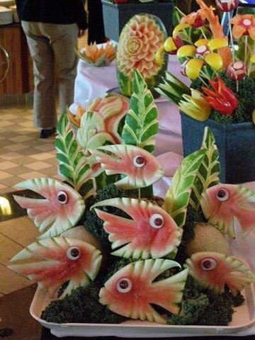 Water melon fishes edible food art pinterest for Edible hawaiian fish