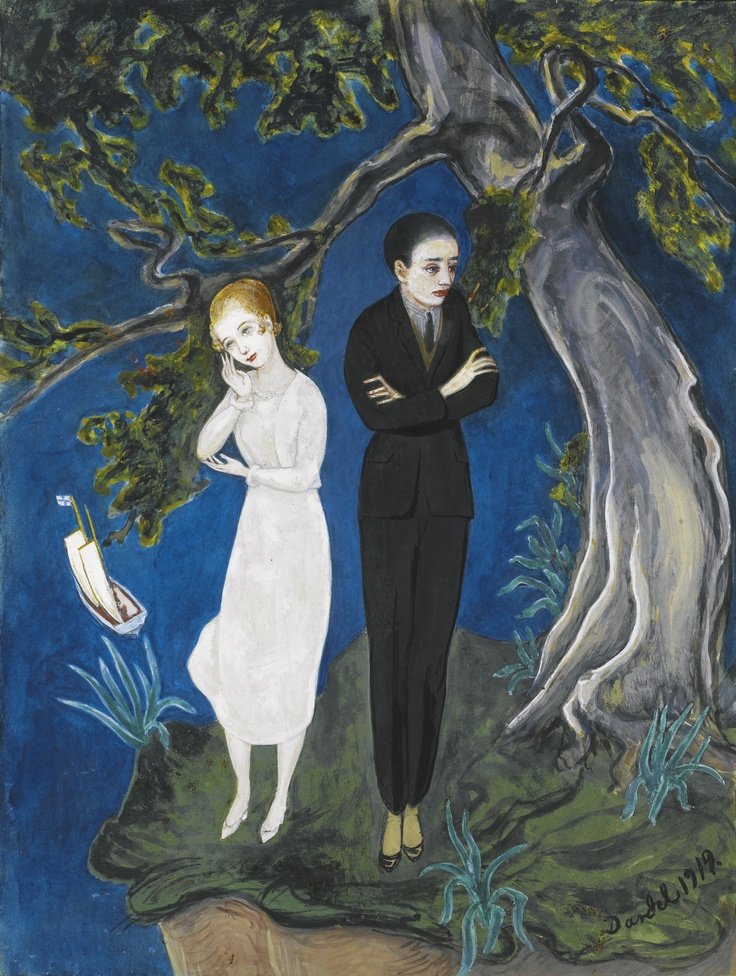 ** Nils Dardel (SWEDISH, 1888 - 1943) YOUNG MAN IN BLACK, GIRL IN WHITE