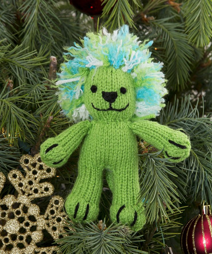 Loom Knit Christmas Ornaments Part - 37: Leon The Lion Ornament Free Knitting Pattern From Red Heart Yarns