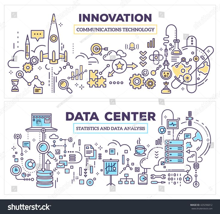 Vector creative concept illustration of data center and innovation technology. Horizontal composition template. Hand draw flat thin line art style des…