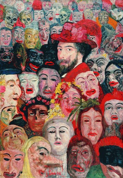 Self-portrait with Masks 1899. James Sidney Edouard, Baron Ensor (1860-1949) was a Belgian painter and printmaker, an important influence on expressionism and surrealism who lived in Ostend for almost his entire life. He was associated with the artistic group Les XX.
