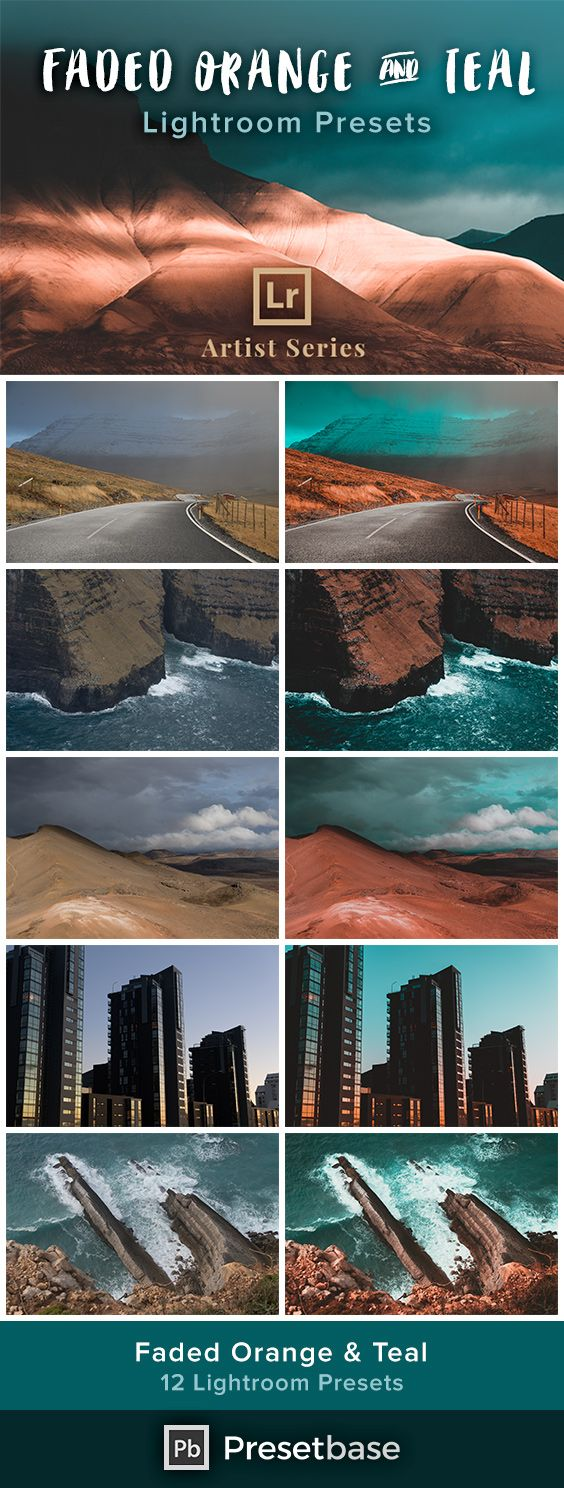 Faded Orange & Teal – Lightroom Presets (Artist Series) With these presets you will be able to achieve the orange and teal color-grading look, combined with a subtle matte effect. Give your photos a moody and cinematic feel with only a few clicks in Lightroom.