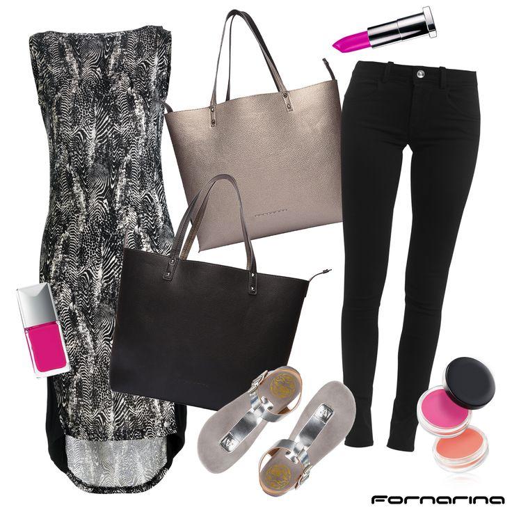 Fornarina styling tips #fornarina #myFornarina #stylingtips #lookidea #fashion #zebra #reversiblebag #yuki #black&white