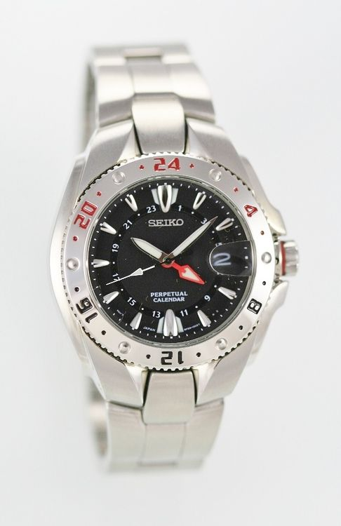 New Seiko Perpetual Calendar Black Men's Silver Nonworking Parts Repair Only