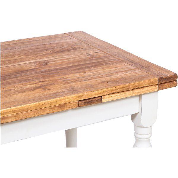 Tavolo Country allungabile in legno massello di tiglio struttura bianca anticata piano naturale 120x80x80 cm