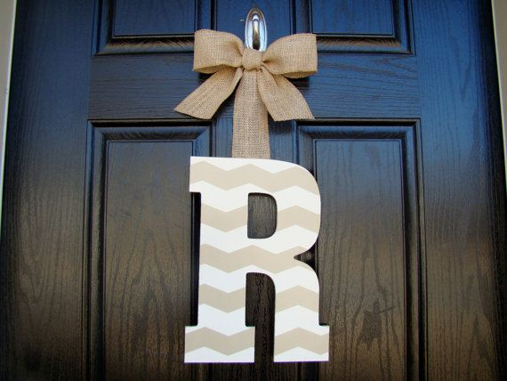 Chevron Painted Letter Door Hanger- Customized to any decor- You choose the colors! on Etsy, $20.00