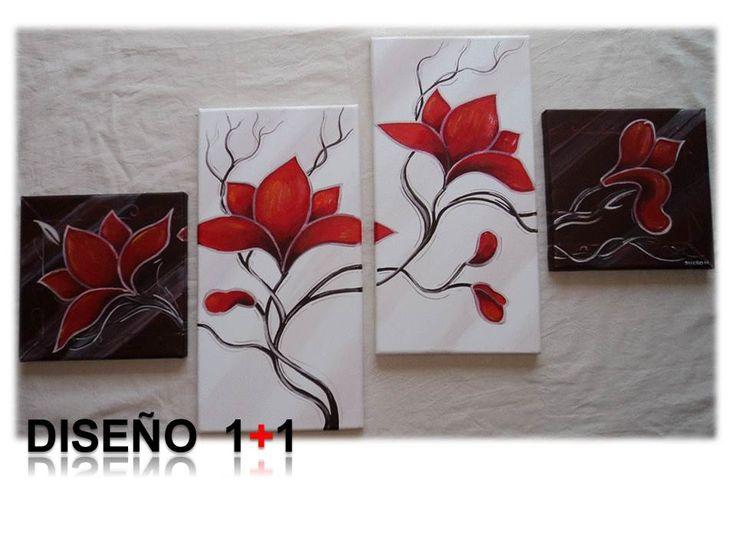 Cuadro flores pintado a mano con acr lico sobre lienzo - Cuadros para cocina modernos ...