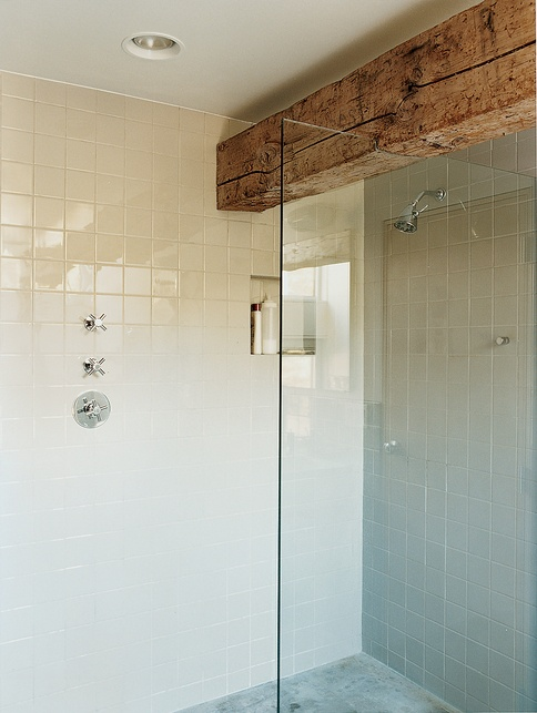 Love The Old Wood Beam Above Shower Door Bathroom Redo