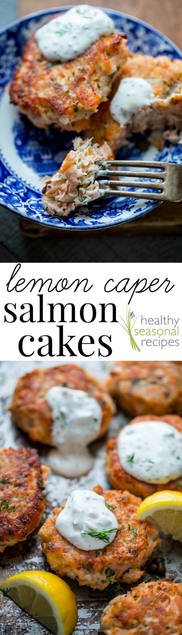 Turn left-over cooked salmon into elegant crispy salmon cakes with lemon zest, capers and light tartar sauce made with Greek yogurt. 30 minutes and only 275 calories.