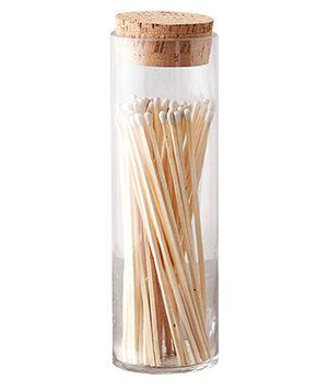 After lighting a fire (from a safe distance away thanks to the long matchstick), you can leave these pretty matches on your mantle.