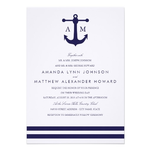 nautical wedding invitations | Nautical Navy Wedding Invitation from Zazzle.com