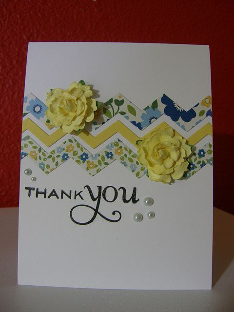 hand made card ... luv the chevron bane die cut from patterned papter ... blue, white, yellow ... clean lines ... dimentional flowers ... Fusion Challenge ...